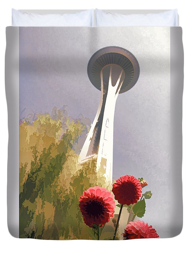 Seattle Needle Flower Duvet Cover featuring the photograph Seattle Needle One by Alice Gipson