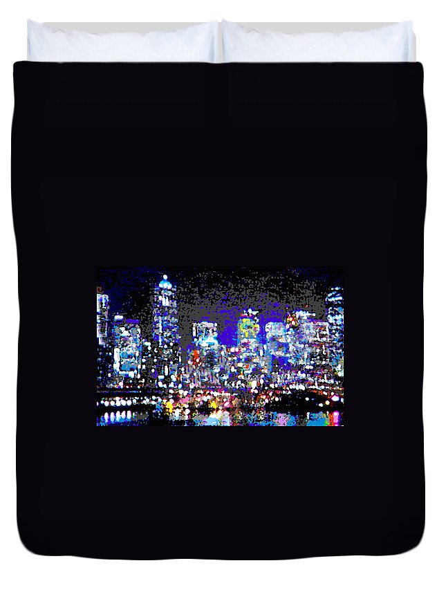 Seattle Duvet Cover featuring the digital art Seattle Waterfront by Michael Moore