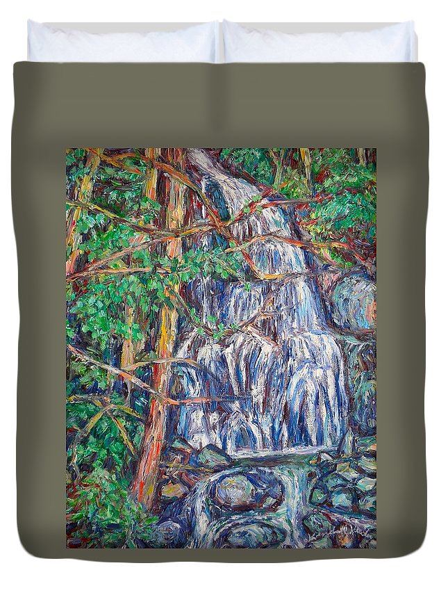 Waterfall Duvet Cover featuring the painting Secluded Waterfall by Kendall Kessler