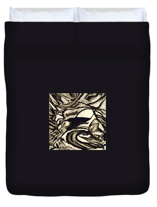 Black And White Duvet Cover featuring the painting Secret Cave by Suzanne Surber