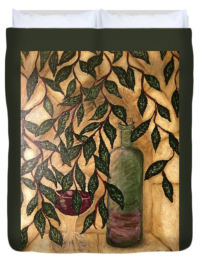 Secret Duvet Cover featuring the painting Secret In The Garden by Theresa Simos