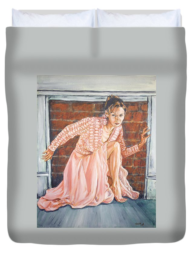 Blonde Duvet Cover featuring the painting Secret Passage by Bryan Bustard