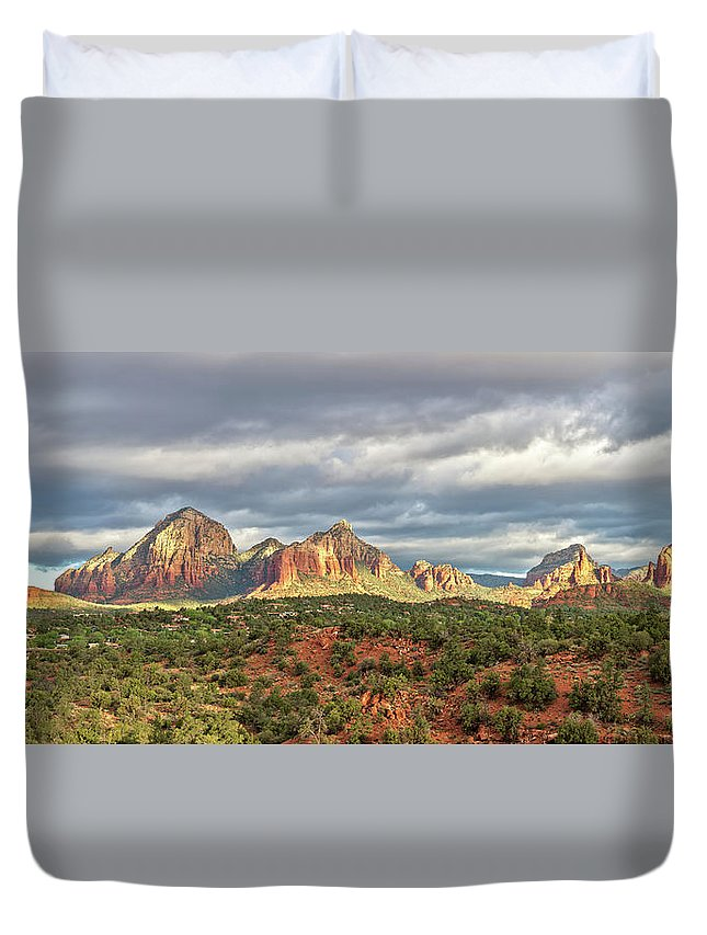 Scenics Duvet Cover featuring the photograph Sedona, Arizona And Red Rocks Panorama by Picturelake