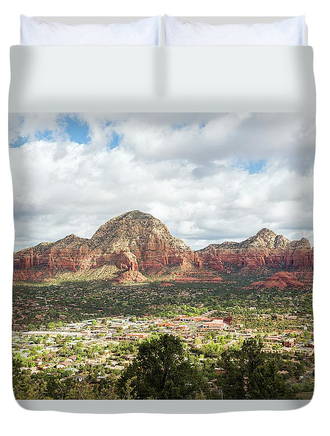 Scenics Duvet Cover featuring the photograph Sedona, Arizona, From Above by Picturelake