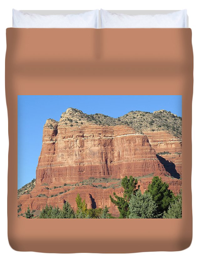 Sedona Duvet Cover featuring the photograph Sedona Arizona Mountain Two by Carl Deaville