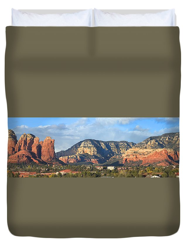 Landscape Duvet Cover featuring the photograph Sedona Arizona Panoramic by Mike McGlothlen