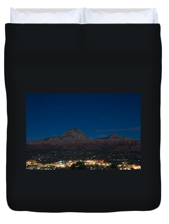Night Duvet Cover featuring the photograph Sedona By Night by Alexey Stiop