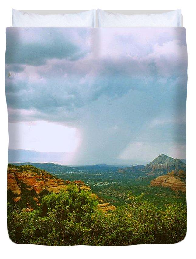 Arizona Duvet Cover featuring the photograph Sedona Storm by Gary Wonning