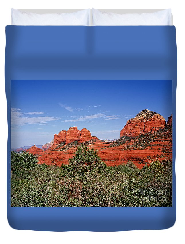 Sedona Duvet Cover featuring the photograph Sedona Sunset by Judy Bottler