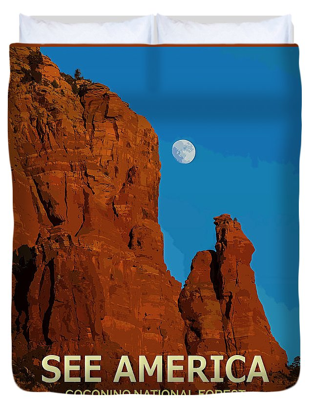 Poster Duvet Cover featuring the digital art See America - Coconino National Forest by Ed Gleichman