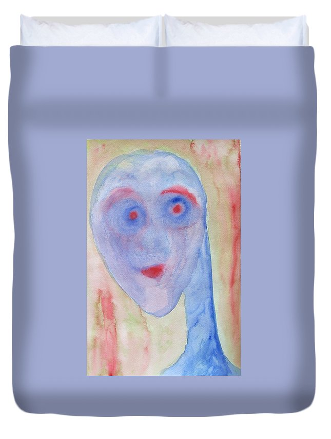 Blue Duvet Cover featuring the painting You Can See Right Through Me And Still Not Understand A Thing by Hilde Widerberg