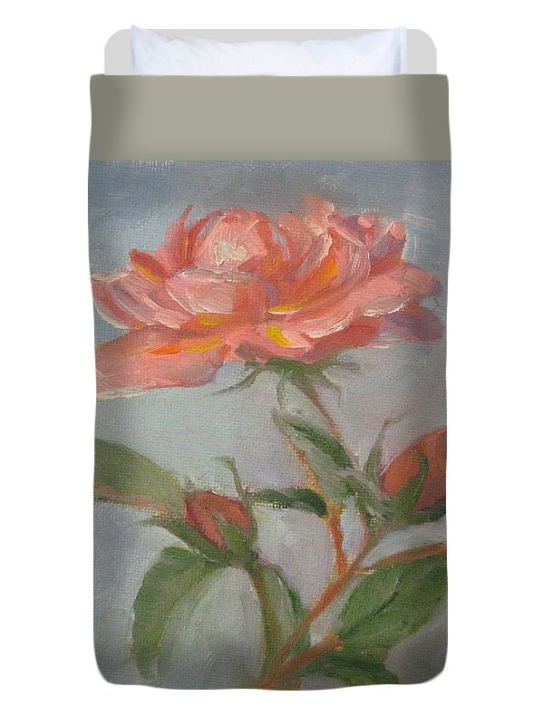 Rose Duvet Cover featuring the painting See You Tomorrow by Robie Benve