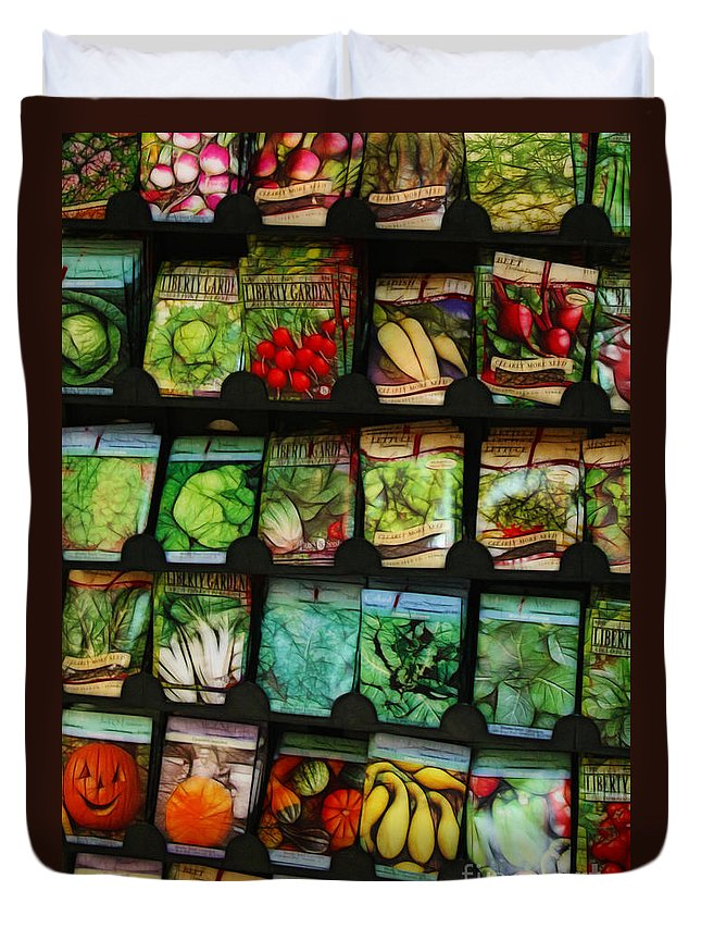 Seed Duvet Cover featuring the photograph Seed Packets by Judi Bagwell