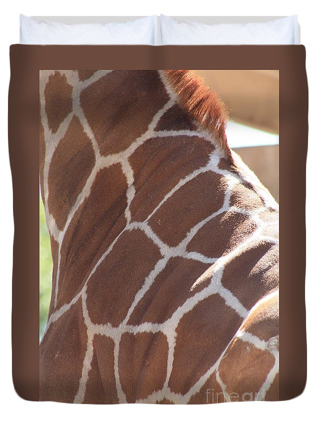 Giraffe Duvet Cover featuring the photograph Seeing Spots by Brandi Maher