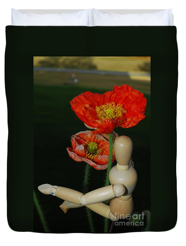 Wood Duvet Cover featuring the photograph Seeking A Yellow Brick Road Poppy Number Two by Heather Kirk