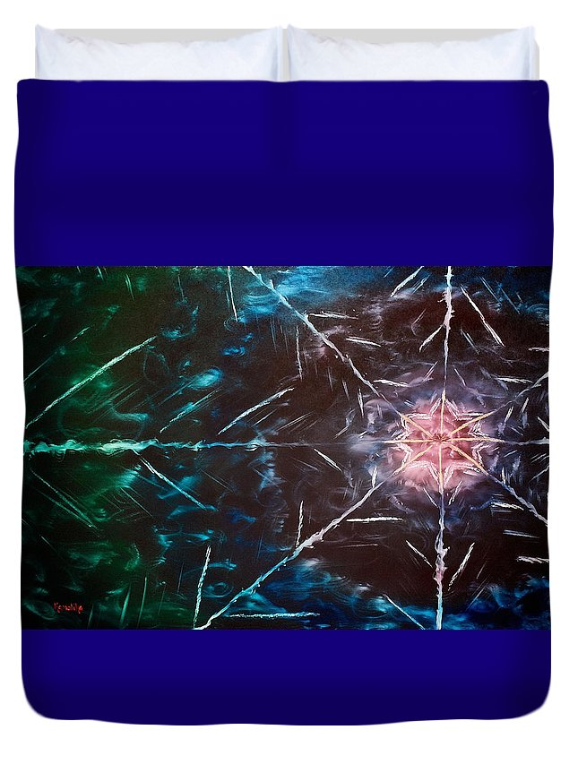Selenite Duvet Cover featuring the painting Selenite Dream by Cyndi Bartlett