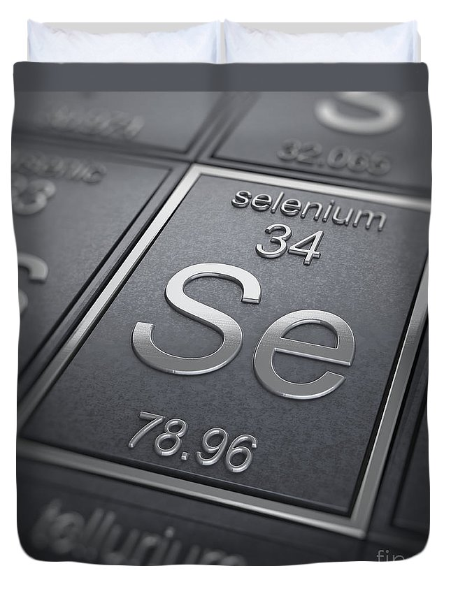 Periodic Table Duvet Cover featuring the photograph Selenium Chemical Element by Science Picture Co