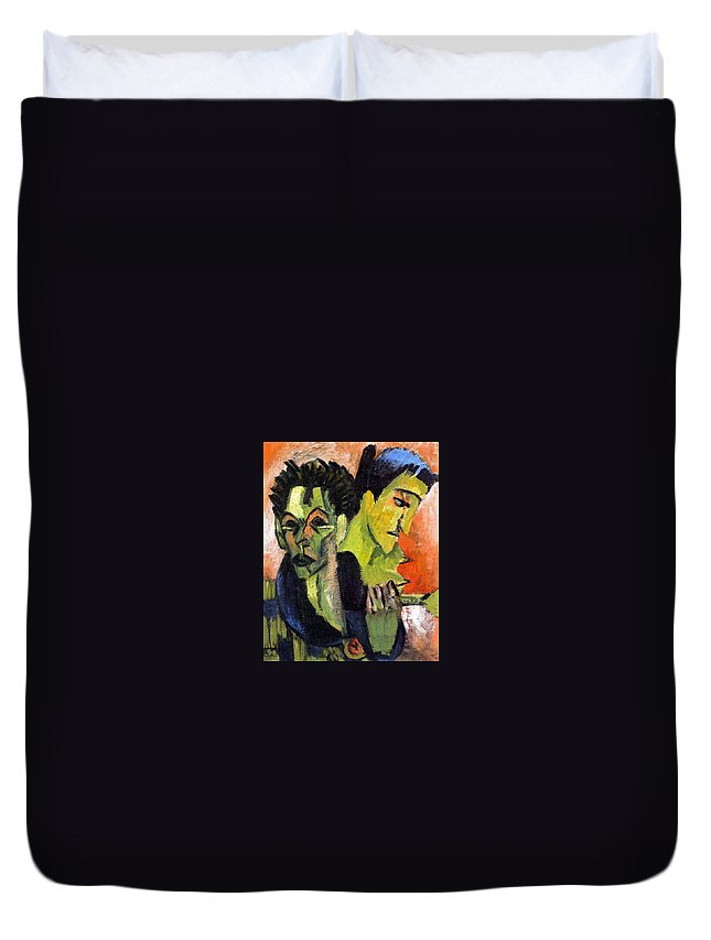 1914 Duvet Cover featuring the painting Self-portrait - Double Portrait by Ernst Ludwig Kirchner