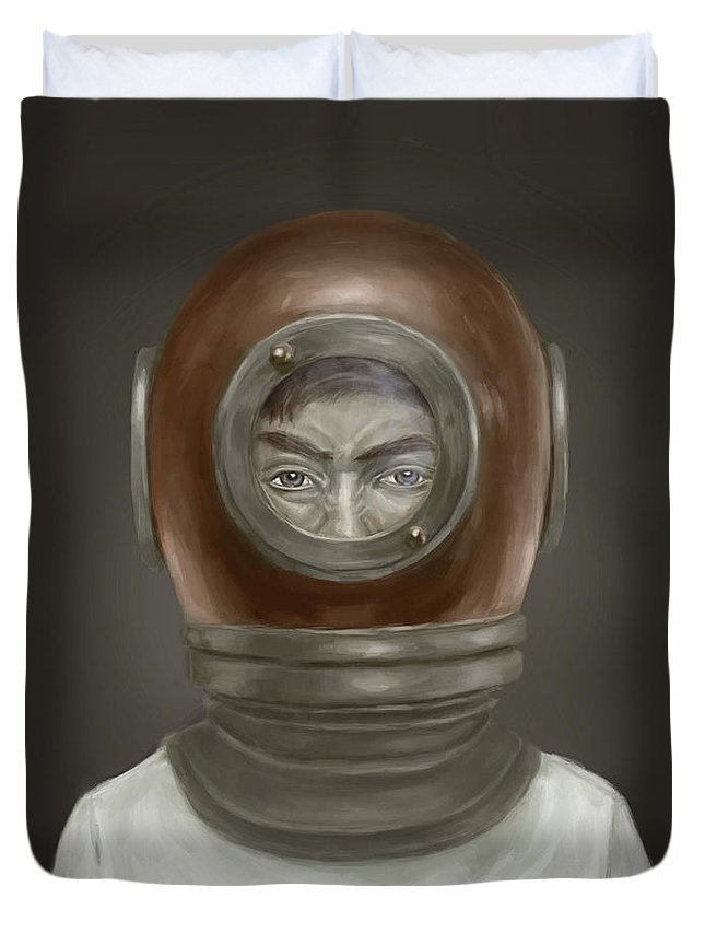 Digital Duvet Cover featuring the digital art Self Portrait by Balazs Solti