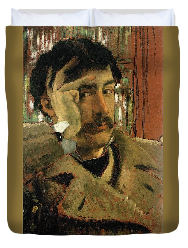 Thoughtful Duvet Cover featuring the photograph Self Portrait, C.1865 Panel by James Jacques Joseph Tissot