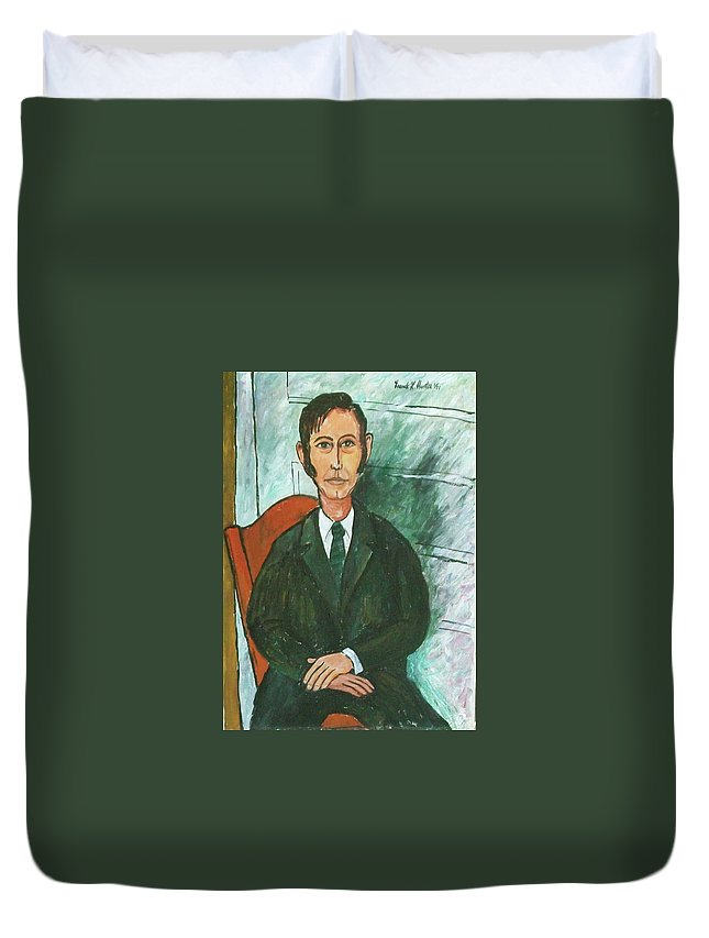 Me Frank Hunter Duvet Cover featuring the painting 1st Self Portrait Age 33 by Frank Hunter