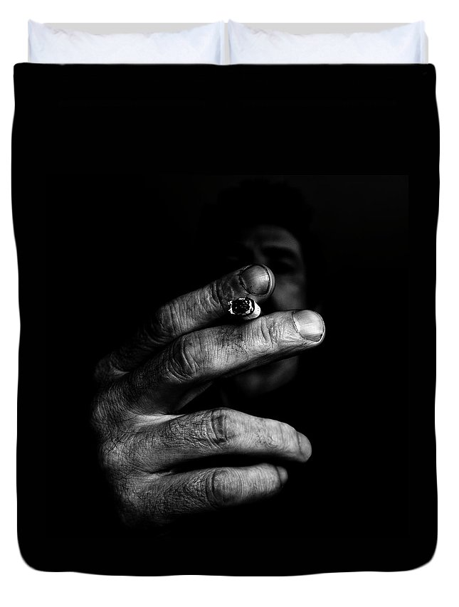 Smoking Duvet Cover featuring the photograph Self Smoking by Miguel Angel Samos Lucena