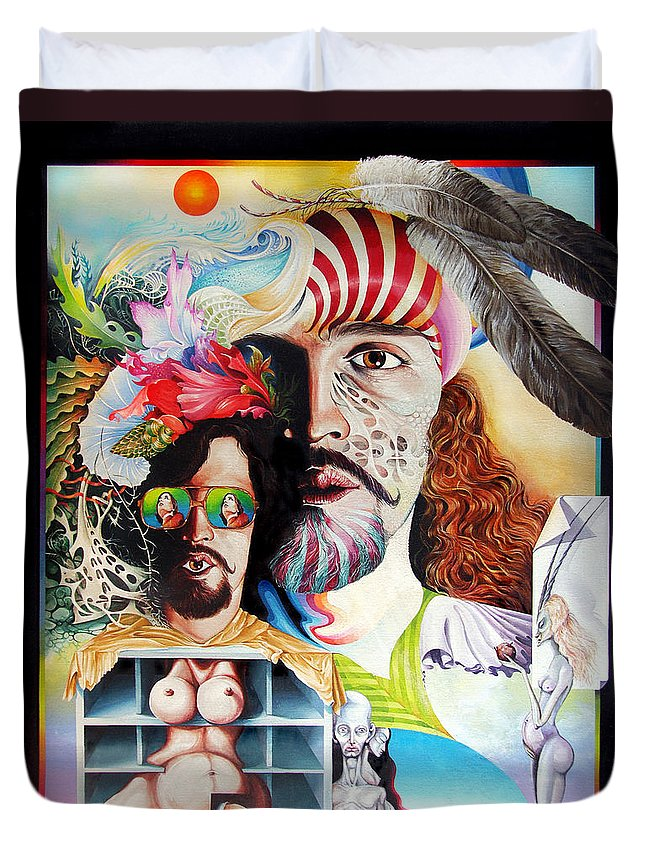 Surrealism Duvet Cover featuring the painting Selfportrait With The Critical Eye by Otto Rapp