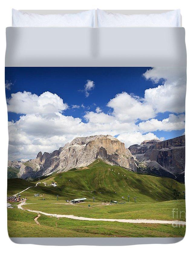 Alpine Duvet Cover featuring the photograph Sella Group. Italian Dolomites by Antonio Scarpi