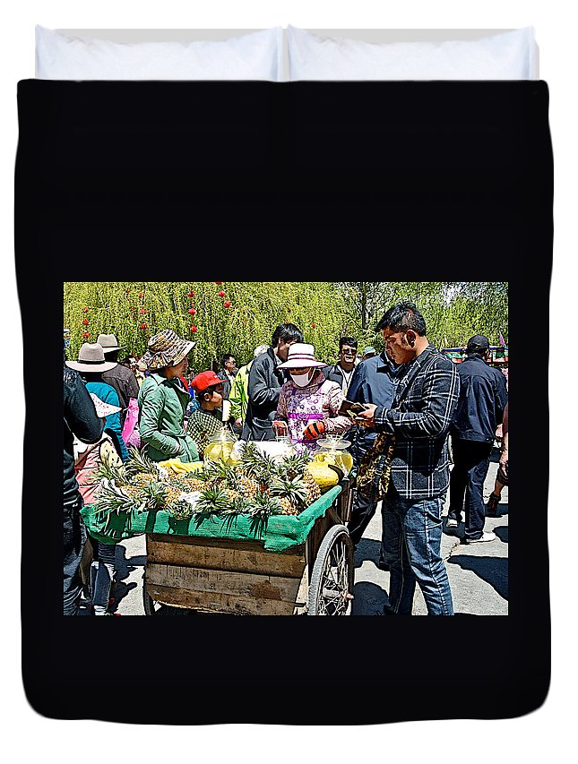 Selling Fresh Pineapple On Street In Lhasa Duvet Cover featuring the photograph Selling Fresh Pineapple On Street In Lhasa-tibet  by Ruth Hager