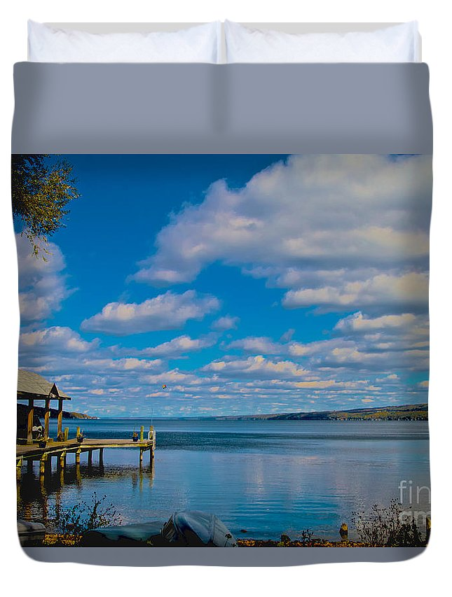 Seneca Duvet Cover featuring the photograph Seneca Lake At Glenora Point by William Norton