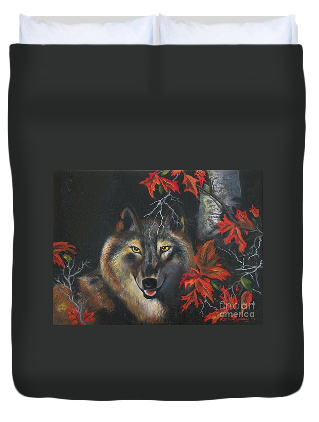 Wolf Duvet Cover featuring the painting Seneca by Lora Duguay