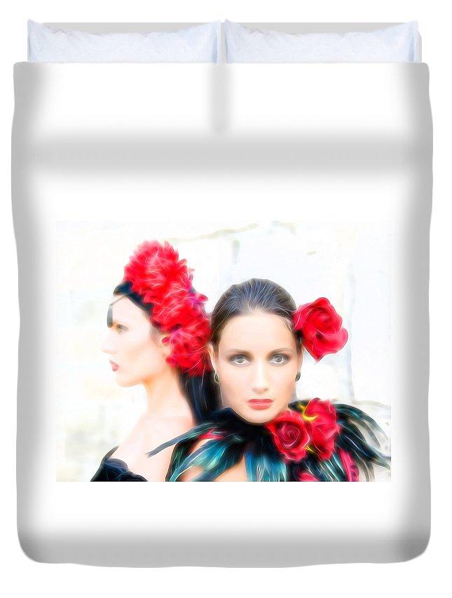 Senorita Duvet Cover featuring the photograph Senoritas by Bill Howard
