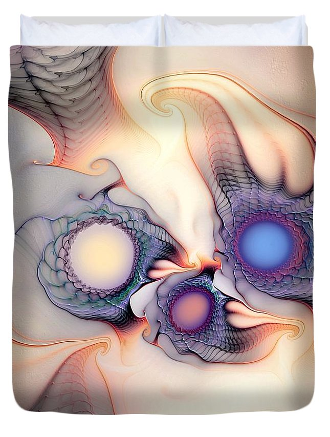 Abstract Duvet Cover featuring the digital art Sensorial Nirvana by Casey Kotas