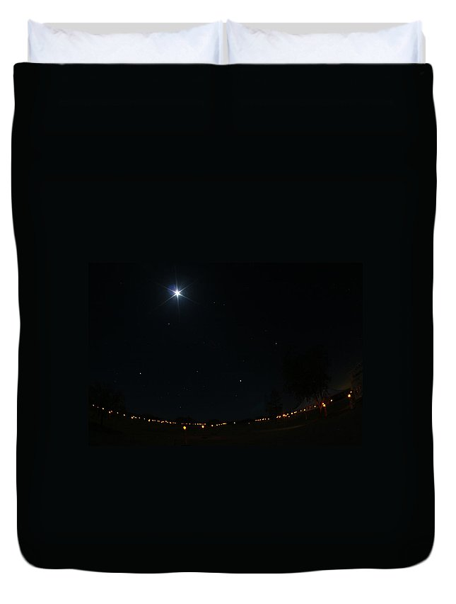 Moon Duvet Cover featuring the photograph Sentinals by David S Reynolds