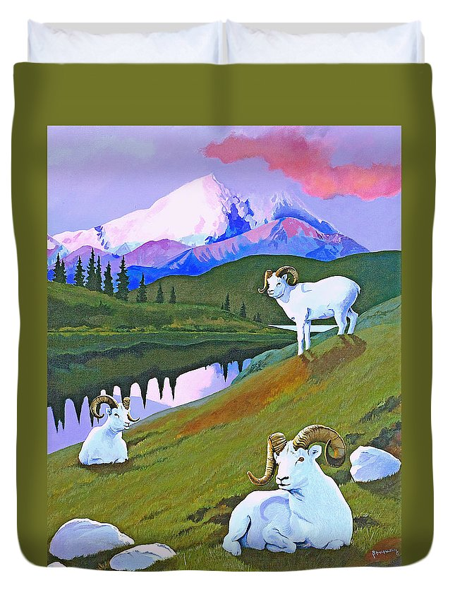 Dall Sheep Duvet Cover featuring the painting Sentinel Denali by Susan McNally