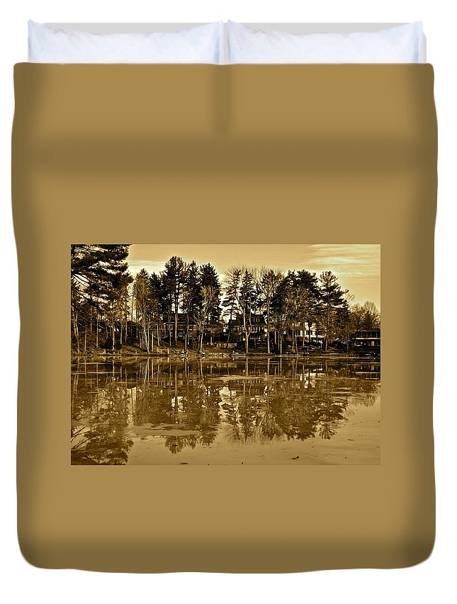 Sepie Duvet Cover featuring the photograph Sepia Reflection by Frozen in Time Fine Art Photography