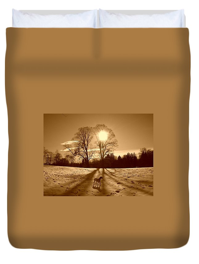 Landscape Duvet Cover featuring the photograph Sepia Sunrise by The Creative Minds Art and Photography