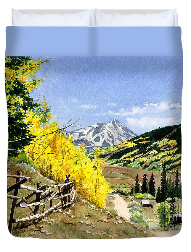 Water Color Paintings Duvet Cover featuring the painting September Gold by Barbara Jewell