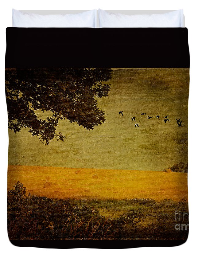 Field Duvet Cover featuring the photograph September by Lois Bryan