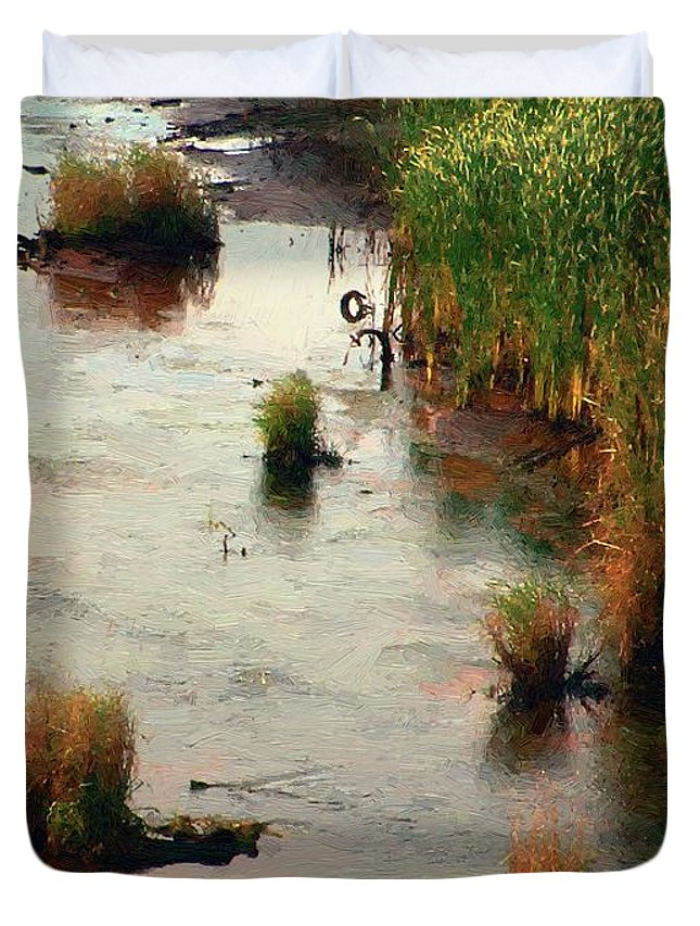 River Duvet Cover featuring the painting September Sunrise by RC DeWinter