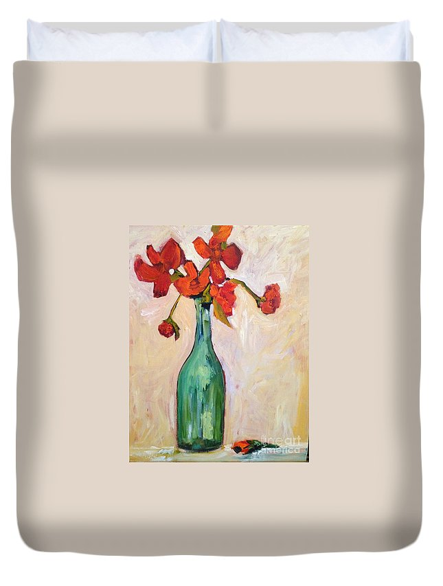 Sunflower Duvet Cover featuring the painting Serendipity Delicious by Sherry Harradence