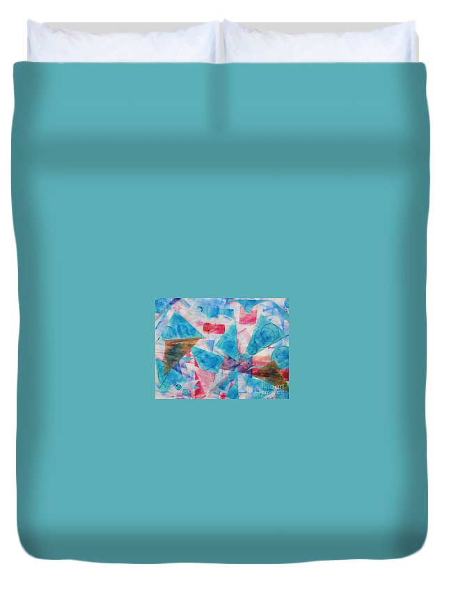 Collage Duvet Cover featuring the painting Serendipity by Yael VanGruber