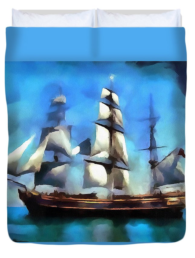 Serene Sailing Duvet Cover featuring the digital art Serene Sailing by Catherine Lott