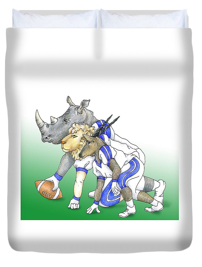 Football Duvet Cover featuring the drawing Serengeti Scrimage Line by Alison Stein