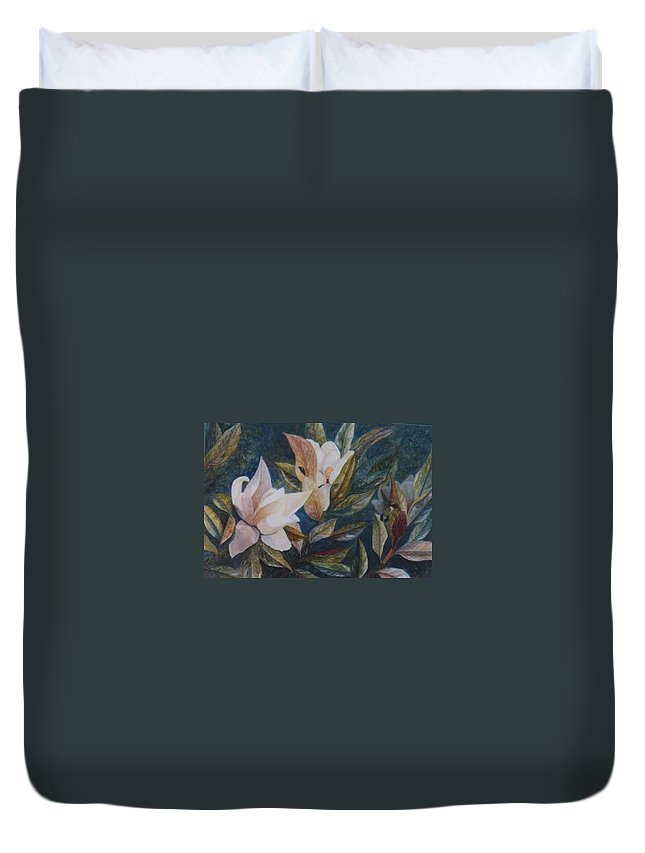 Magnolias; Humming Bird Duvet Cover featuring the painting Serenity by Ben Kiger