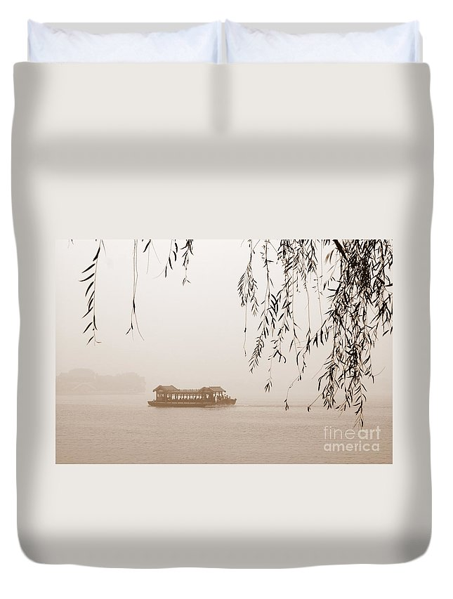 Sepia Duvet Cover featuring the photograph Serenity In Sepia by Carol Groenen