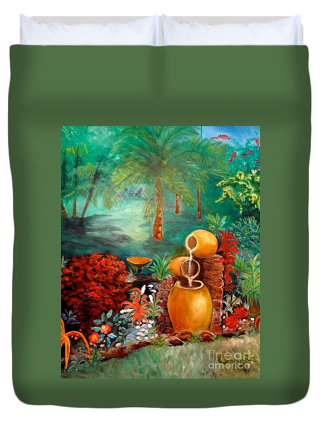 Waterfall Pots Duvet Cover featuring the painting Serenity by Jenny Lee