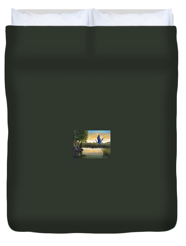 Rick Huotari Duvet Cover featuring the painting Serenity by Rick Huotari