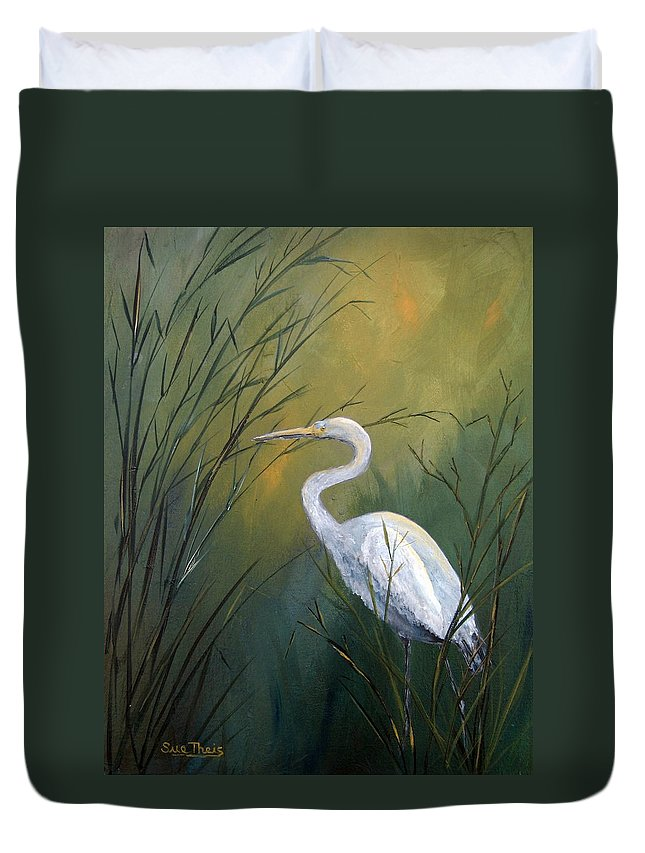 Louisiana Art Duvet Cover featuring the painting Serenity by Suzanne Theis