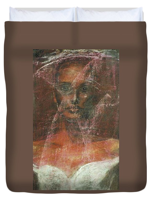 Portrait Art Duvet Cover featuring the painting Serious Bride Mirage by Jarmo Korhonen aka Jarko